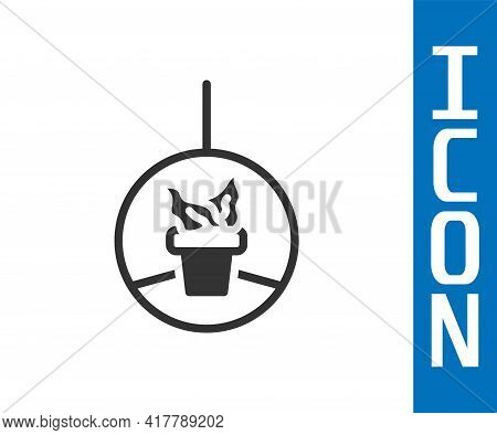 Grey Plant In Hanging Pot Icon Isolated On White Background. Decorative Macrame Handmade Hangers For