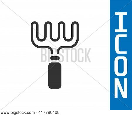 Grey Garden Rake Icon Isolated On White Background. Tool For Horticulture, Agriculture, Farming. Gro