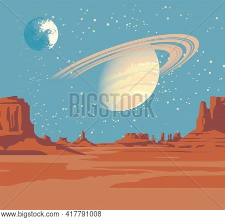 A Fantastic Alien Landscape With A Desert Valley, Rocks, And Views Of Saturn And Another Planet In A