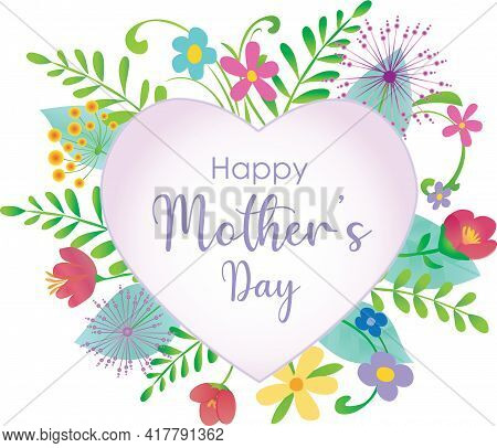 Happy Mother's Day Floral Graphic With Heart In Center