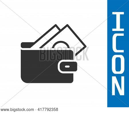 Grey Wallet With Stacks Paper Money Cash Icon Isolated On White Background. Purse Icon. Cash Savings