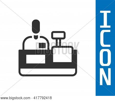 Grey Cashier At Cash Register Supermarket Icon Isolated On White Background. Shop Assistant, Cashier