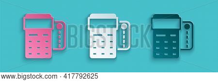 Paper Cut Pos Terminal With Inserted Credit Card And Printed Reciept Icon Isolated On Blue Backgroun