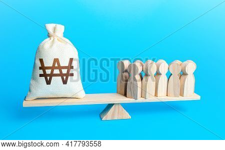 Group Of People And South Korean Won Money Bag On Weight Scales. Staff Maintenance. Payment Of Staff
