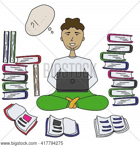 A Man In A Cartoon Style Is Studying Or Working With Book And A Laptop, Working And Studying Remotel