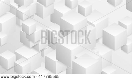 Abstract tech geometric 3d background with paper cubes