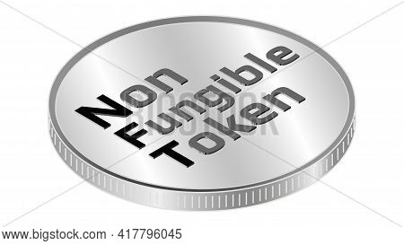 Nft Non Fungible Token Isometric Text On Coin Isolated On White. Pay For Unique Collectibles In Game