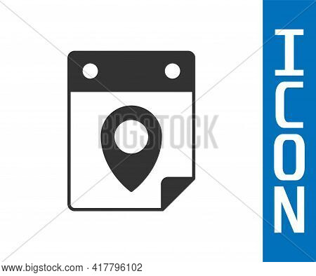 Grey Travel Planning Calendar Icon Isolated On White Background. A Planned Holiday Trip. Vector