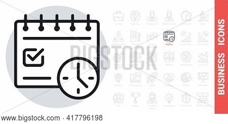 Deadline Concept Icon. Calendar With Clock And Date Marked With A Tick. Simple Black And White Versi