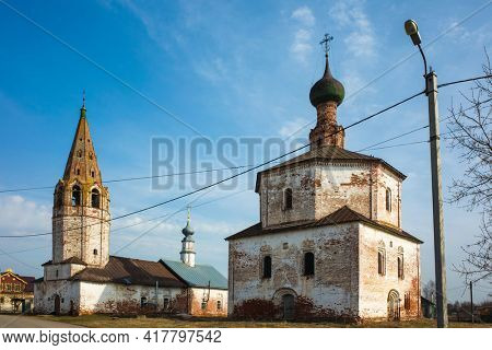 Old Orthodox Holy Cross church in Suzdal in spring, Time-worn building with crumbling plaster, Part of Golden Ring ancient towns of Russia