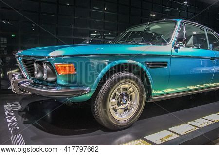 Germany, Munich - April 27, 2011: Bmw 3.0 Csl Coupe In The E9 Body In The Exhibition Hall Of The Bmw