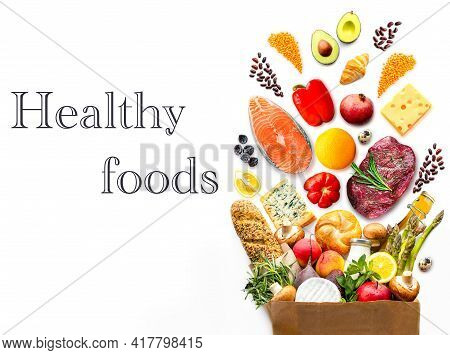 Full Paper Bag With Healthy Food.healthy Food Background.supermarket Food Concept. World Food Day.a