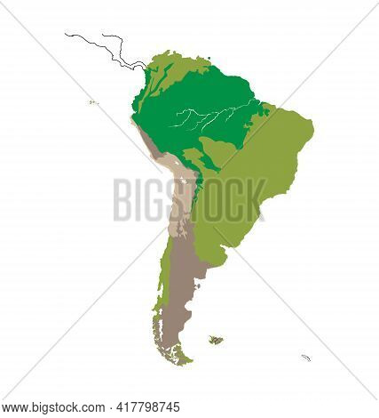 Map Of South America - Habitat Distribution - Flat Vector Isolated
