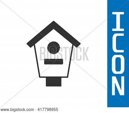 Grey Bird House Icon Isolated On White Background. Nesting Box Birdhouse, Homemade Building For Bird