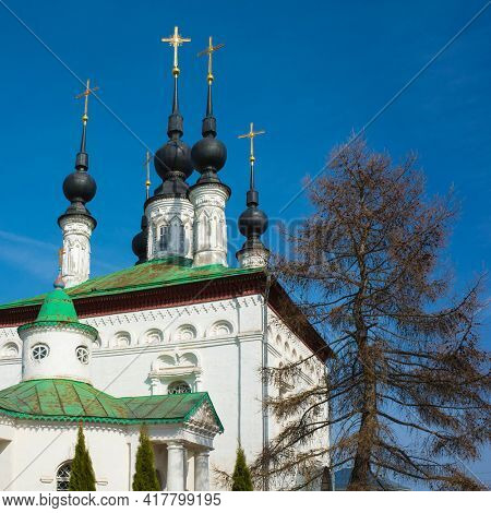 Old Orthodox Tsar Constantine church in Suzdal in spring, Russian heritage architecture, Part of Golden Ring ancient towns of Russia