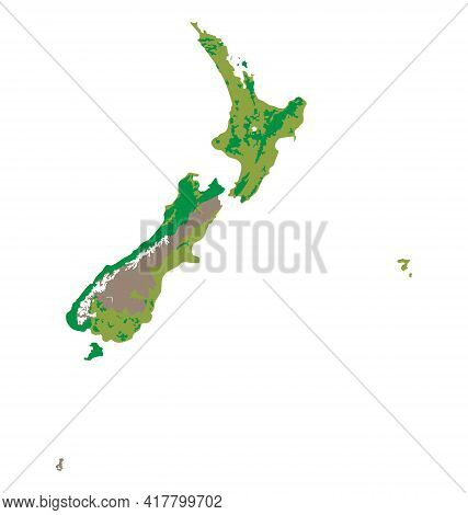 Map Of New Zealand - Habitat Distribution - Flat Vector Isolated