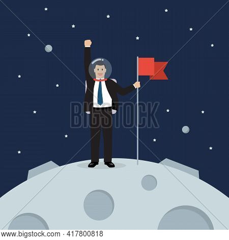 Businessman Astronaut Landing On Moon Holding Flag. Star And Planets On Galaxy Background. Flat Styl