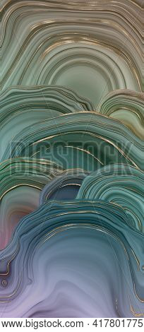 Beautiful Pastel Green Gold Abstract Marble Agate Design. Vertical Abstract Marbling Agate Texture A