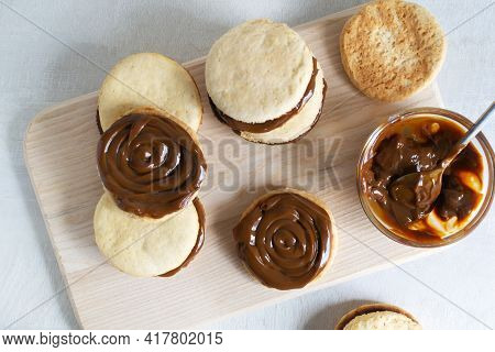 Alfahores Cookies With Condensed Milk. Traditional Homemade Biscuits. Homemade Food Concept. Horizon