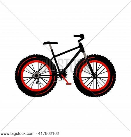 Fatbike, Fat Bike Detailed Bicycle With Thick Tires. Hobby. Flat Style Vector Illustration Isolated