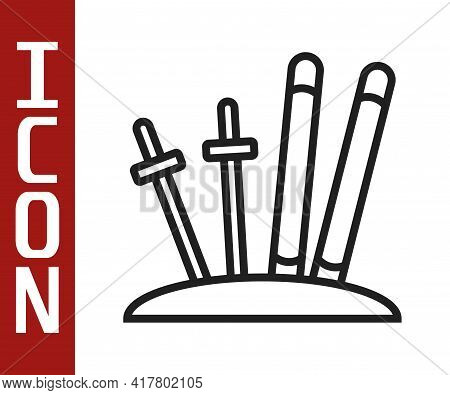 Black Line Ski And Sticks Icon Isolated On White Background. Extreme Sport. Skiing Equipment. Winter