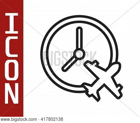 Black Line Clock With Airplane Icon Isolated On White Background. Designation Of Time Before Departu