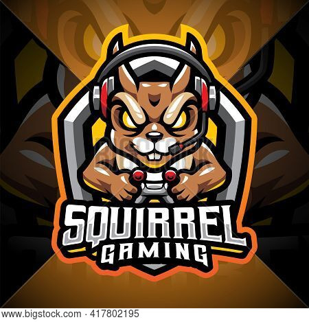 Squirrel Gaming Esport Mascot Logo Design With Text