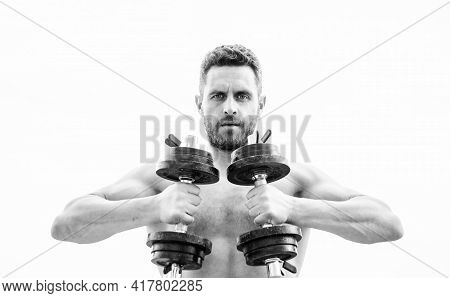 Success. Perfect Six Pack. Fitness And Sport Equipment. Man Sportsman With Strong Ab Torso. Steroids