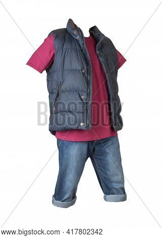 Denim Dark Blue Shorts,burgundy T-shirt  And Dark Blue Jacket Without Sleeves Isolated On White Back