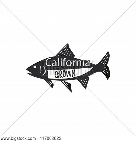 Vector Trout Logo With California Grown Lettering.