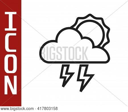Black Line Storm Icon Isolated On White Background. Cloud With Lightning And Sun Sign. Weather Icon