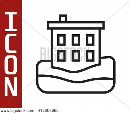 Black Line House Flood Icon Isolated On White Background. Home Flooding Under Water. Insurance Conce