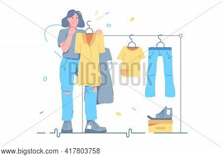 Girl Choosing Clothes On Store Vector Illustration. Woman Standing In Front Of Hanger Rack And Choos