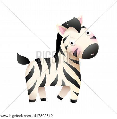 Baby Zebra African Animal Cartoon For Little Kids. Children Zebra From The Zoo Character Design For