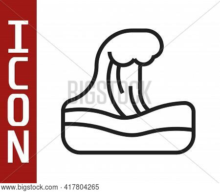 Black Line Tsunami Icon Isolated On White Background. Flood Disaster. Stormy Weather By Seaside, Oce
