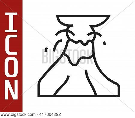 Black Line Volcano Eruption With Lava Icon Isolated On White Background. Vector