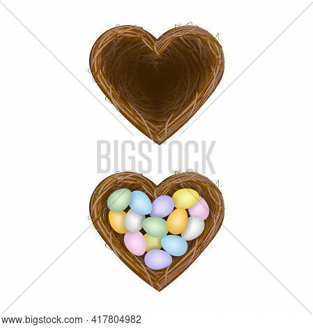 Isolated Heart Shaped Nest Empty Nest And Nest With Colorful Eggs