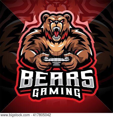 Bears Gaming Esport Mascot Logo Design With Text