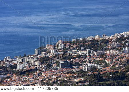 Aerial View Of The City Of Funchal, The Capital Of Madeira Island, Portugal, Europe