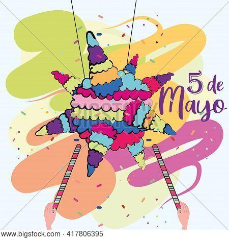 Isoalted Star Mexican Pinata. Cinco De Mayo Poster - Vector