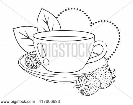Cute Teacup With Fresh Strawberry And Decor. Line Art. Vector Illustration. Isolated On White. Monoc