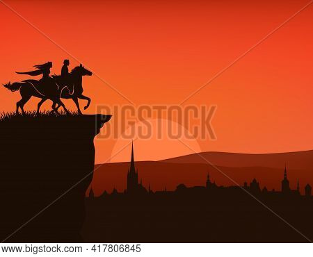 Fairy Tale Prince And Princess Riding Horse On A Cliff Above Medieval City - Vector Silhouette Of Fa