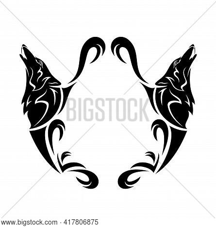 Two Howling Wolf Heads And Heraldic Style Copy Space Blank Black And White Vector Design