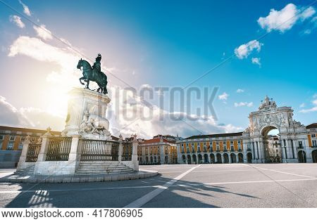 Lisbon City Old Town, Portugal. King Jose I Statue At Commerce Square Or Praca Do Comercio And Famou