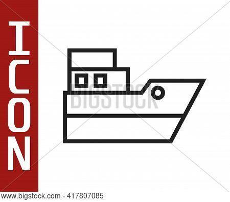 Black Line Ship Line Path Of Ship Sea Route With Start Point Gps And Black Line Icon Isolated On Whi