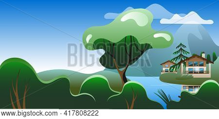 Mountain Summer Landscape With Chalet-style Houses. Vector Illustration On The Theme Of Summer In Th
