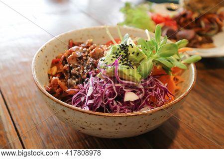 Salad Or Beef Salad, Beef And Vegetable Salad For Serve