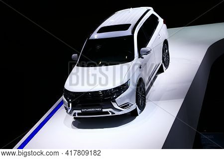 Geneva, Switzerland - March 10, 2019: Plug-in Hybrid Crossover Mitsubishi Outlander Phev Presented A