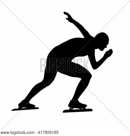 Male Speed Skater Athlete Black Silhouette In Sports Race