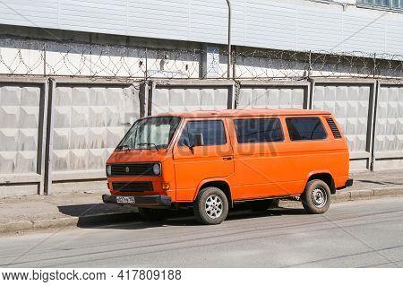 Ufa, Russia - April 6, 2008: Old Van Volkswagen Type 2 (t3) Caravelle In The City Street.